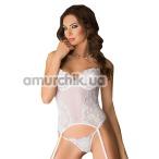 Комплект Caroline белый: корсет + трусики-стринги - Фото №1