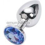 Анальная пробка с синим кристаллом, 7.5 см гладкая серебряная - Фото №1