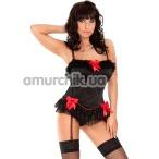 Комплект Sybil черный: корсет + трусики-стринги - Фото №1