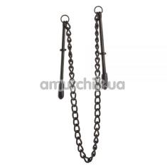 Зажимы для сосков с цепочкой Lucky Bay Nipple Play Chain, черные - Фото №1