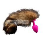 Анальная пробка с полосатым хвостом Пикантные Штучки, 7.5 см розовая