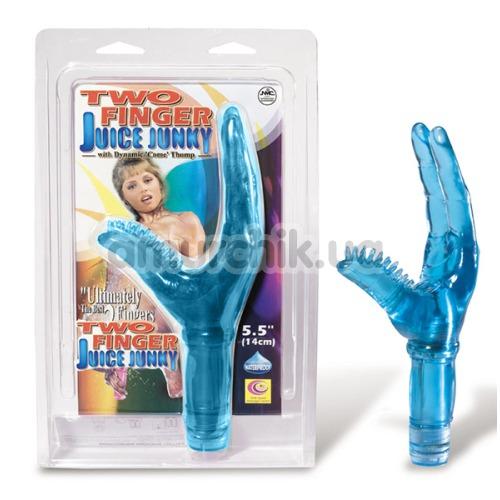 Вибратор клиторальный и точки G Two Finger Juice Junky, голубой