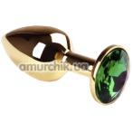 Анальная пробка с зеленым кристаллом SWAROVSKI Gold Emerald Small, золотая