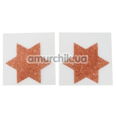Украшения для сосков Cottelli Collection Titty Sticker Star Big Copper, золотые - Фото №1