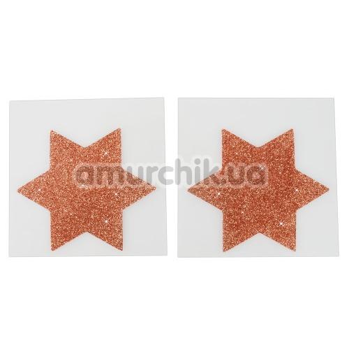 Украшения для сосков Cottelli Collection Titty Sticker Star Big Copper, золотые - Фото №1