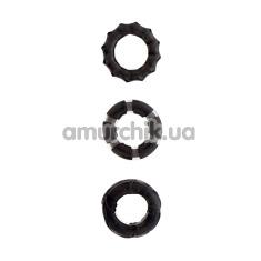 Набор эрекционных колец Menz Stuff Stretchy Cock Rings черный, 3 шт - Фото №1