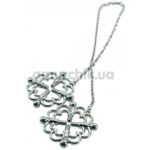 Зажимы для сосков Loveshop Erotic Flower, серебряные - Фото №1