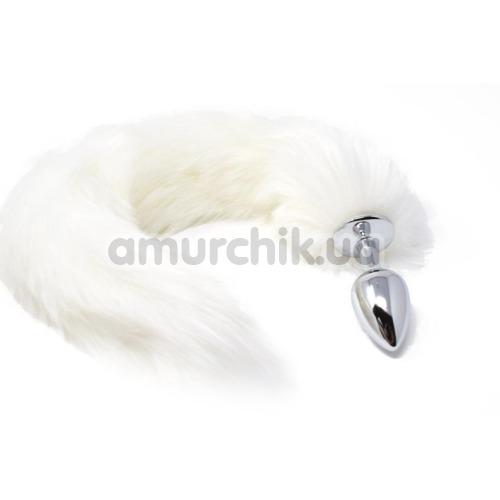 Анальная пробка с белым хвостиком Boss Series Fox Tail XL, серебряная - Фото №1