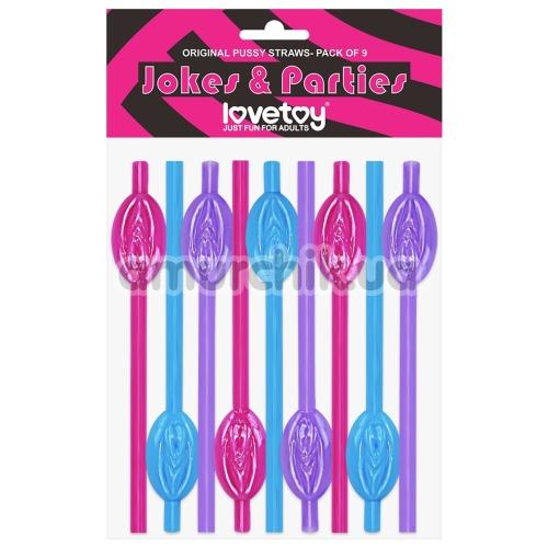Трубочки для напитков LoveToy Jokes&Parties Pussy Straws, разноцветные 9 шт - Фото №1