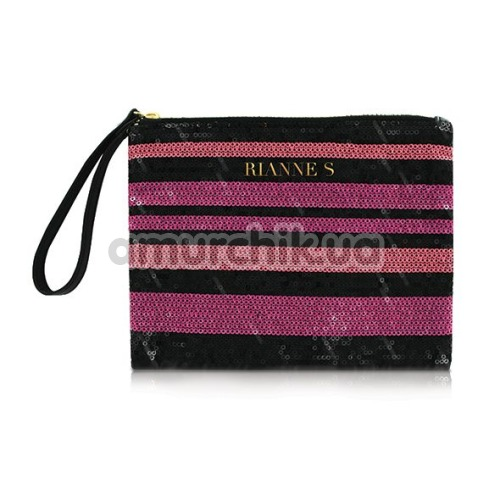 Вибратор Rianne S Classique Vibe Stud с розово-полосатой сумкой, розовый