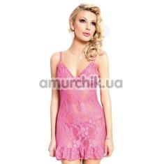 Комплект April розовый: комбинация + трусики-стринги