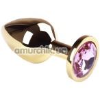 Анальная пробка с розовым кристаллом SWAROVSKI Gold Pink Topaz Middle, золотая - Фото №1