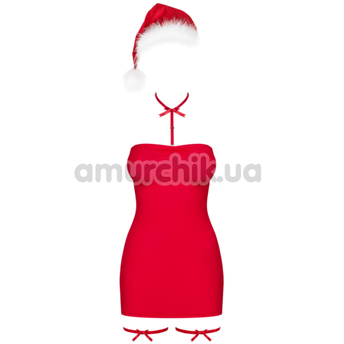 Костюм Санты Obsessive Kissmas красный: платье + шапка + чокер + подвязки