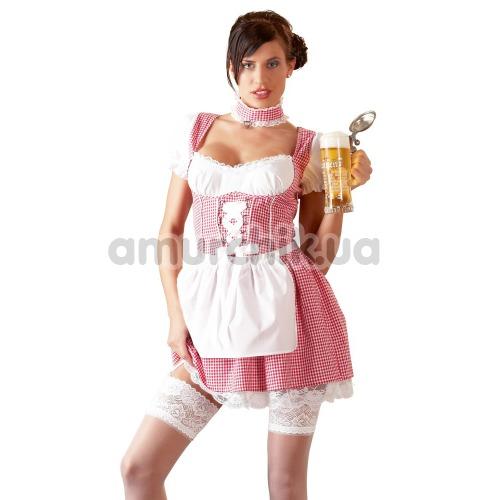 Костюм официантки Cottelli Collection Costumes бело-красный: платье + фартук + трусики-стринги + чокер - Фото №1