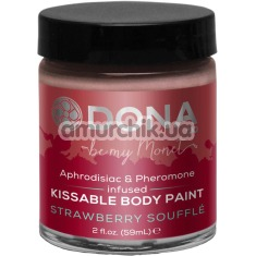 Крем-краска для тела Dona Kissable Body Paint Strawberry Souffle - клубника, 59 мл - Фото №1