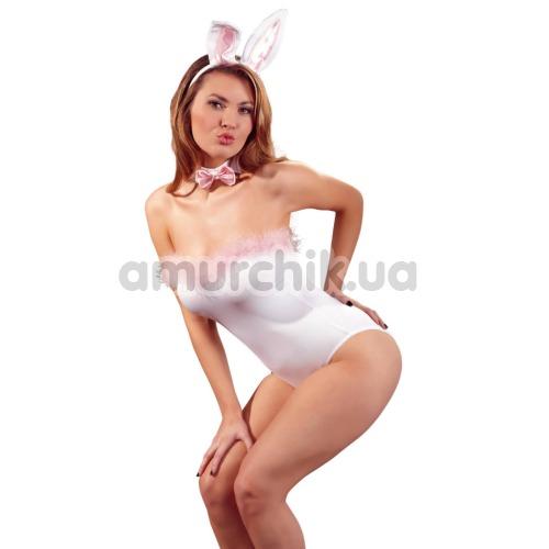 Костюм кролика Cottelli Collection 2470225 белый: боди + галстук-бабочка + ушки