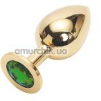 Анальная пробка с зеленым кристаллом Swarovski, 9 см гладкая золотая - Фото №1
