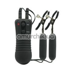 Зажимы для сосков с вибрацией Vibrating Nipple Clamps, черные - Фото №1
