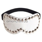 Маска на глаза с заклепками sLash Style Leather Mask, белая - Фото №1