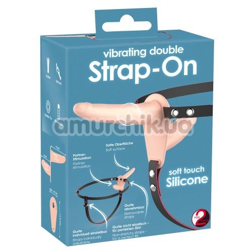 Двойной страпон с вибрацией Vibrating Double Strap-On, телесный