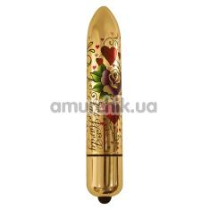 Клиторальный вибратор Rocks-Off Lal Hardy RO-160 mm 10-Speed Heart's'n'Roses, золотой - Фото №1
