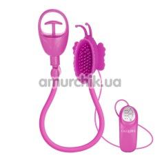 Вакуумная помпа для клитора с вибрацией Advanced Butterfly Clitoral Pump, розовая - Фото №1