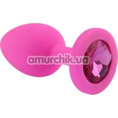 Анальная пробка с розовым кристаллом SWAROVSKI Zcz, розовая - Фото №1