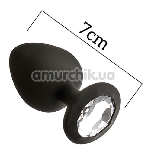 Анальная пробка с прозрачным кристаллом Mai Attraction Pleasure Toys S №47, черная