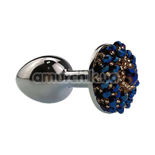 Анальная пробка с синими кристаллами Seamless Butt Plug Starting Silver Metal S, серебряная