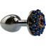 Анальная пробка с синими кристаллами Seamless Butt Plug Starting Silver Metal S, серебряная - Фото №3