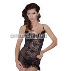 Комплект Francesca черный: комбинация + трусики-стринги - Фото №1
