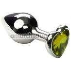 Анальная пробка с салатовым кристаллом SWAROVSKI Silver Heart Light Green, серебряная - Фото №1