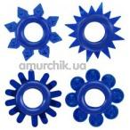 Набор из 4 эрекционных колец Get Lock Cock Rings Set, синий - Фото №1