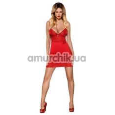 Комплект Obsessive Lovica Chemise красный: пеньюар + трусики-стринги - Фото №1