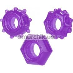 Набор из 3 эрекционных колец Reversible Ring Set, фиолетовый