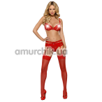 Комплект Obsessive Heartina красный: бюстгальтер + трусики-стринги + пояс для чулок - Фото №1