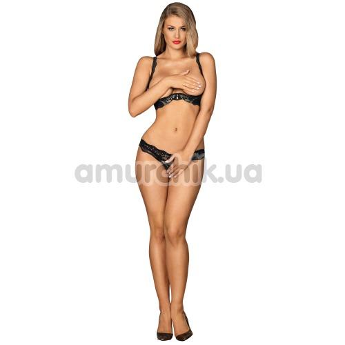 Комплект Obsessive Luvae Cupless Set черный: бюстгальтер + трусики-стринги - Фото №1