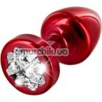 Анальная пробка с прозрачным кристаллом SWAROVSKI Anni R Clover T2, красная - Фото №1