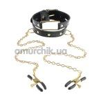 Ошейник с зажимами для сосков Fetish Fantasy Gold Collar and Nipple Clamps - Фото №1