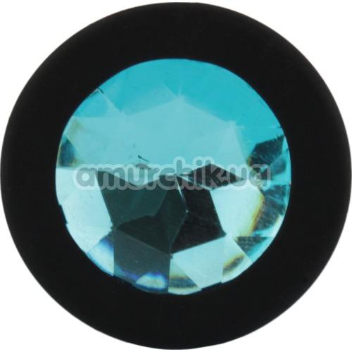 Анальная пробка с голубым кристаллом SWAROVSKI Zcz, черная