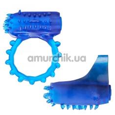 Набор из виброкольца и вибронапалечника Flex Ring And Finger Vibe, синий - Фото №1