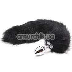 Анальная пробка с черным хвостом Amour Anal Plug, серебрянная