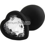 Анальная пробка с прозрачным кристаллом Silicone Jewelled Butt Plug Heart Small, черная - Фото №1