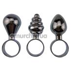 Набор из 3 анальных пробок Mini Anal Plug Butt Plug Training Kit, серебряный - Фото №1