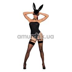 Костюм зайчика Obsessive Bunny, черный: боди + маска + чокер + подтяжки - Фото №1