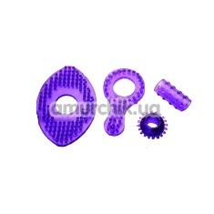 Набор эрекционных колец и насадок Jelly Fantasy Pleasure Ring Collection фиолетовый, 4 шт - Фото №1