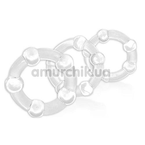 Набор эрекционных колец Power Plus Cock Ring Series Triple Beaded Ring Set, прозрачный