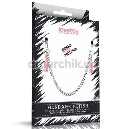 Зажимы для сосков LoveToy Bondage Fetish Tassel Nipple Clamp With Chain, розовые