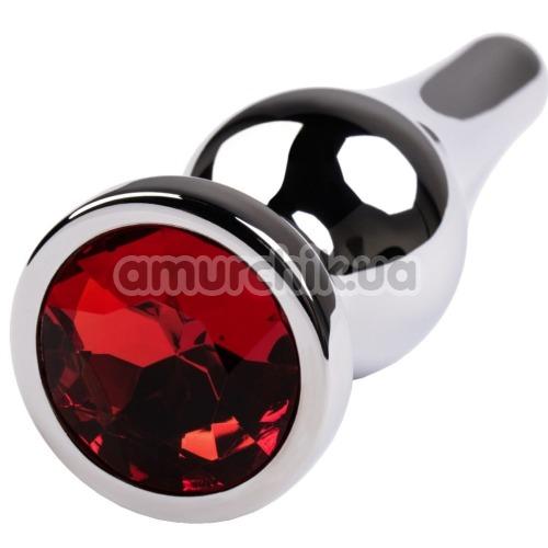 Анальная пробка с красным кристаллом Toyfa Metal 717049-9, серебряная