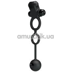 Виброкольцо с анальным шариком Pretty Love Vibration Penis Sleeve IV, черное - Фото №1